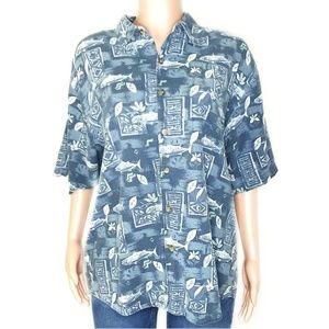 Portofino Silk Blend Hawaiian Tropical Button Up